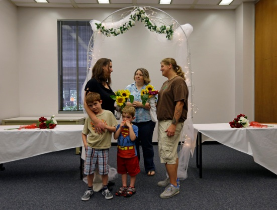 Photo: Jen and Erin get gay married in Indiana. Photo source: Google Images, Associated Press