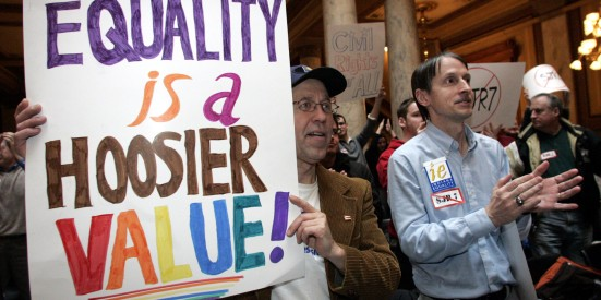 Photo: Indiana gets gay marriage. Equality is a Hoosier value protest sign. Photo source: Google Images, Huffington Post
